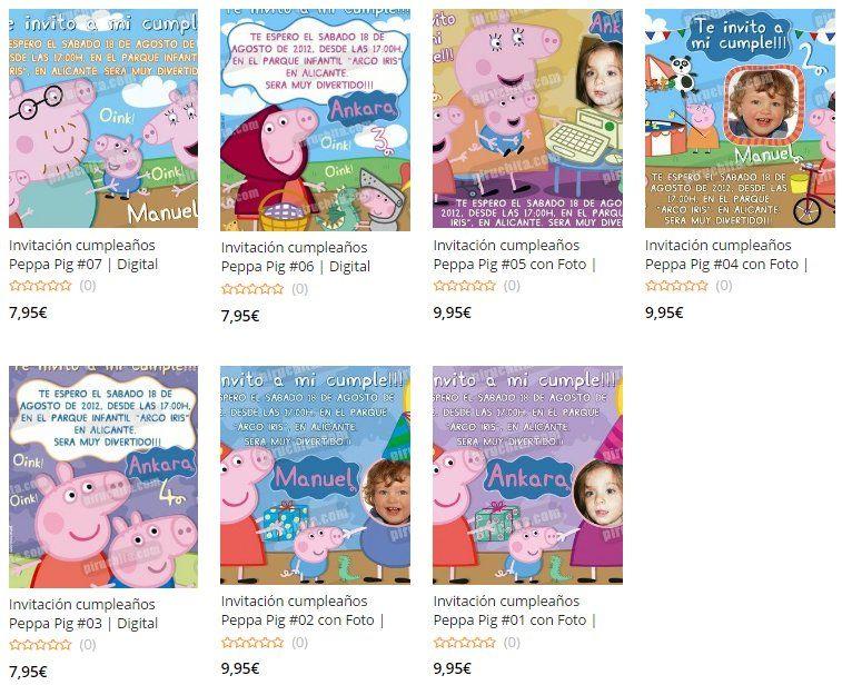 Invitaciones de Cumpleaños de Peppa Pig Premium