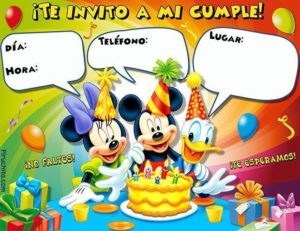 Birthday invitations Mickey Mouse and his friends
