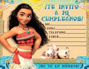 3 Invitaciones Cumpleaños Princesa Vaiana Moana Gratis