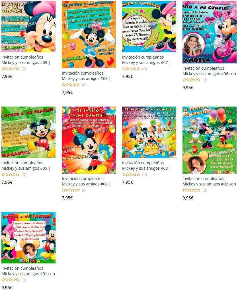 Invitaciones de cumpleaños Mickey Mouse y sus amigos Premium