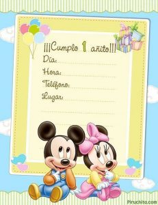 First Birthday Invitations Mickey Mouse Baby