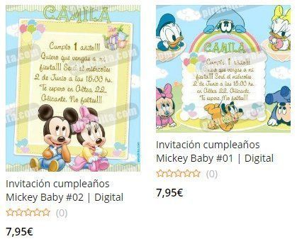 Mickey Baby Premium First Birthday Invitations