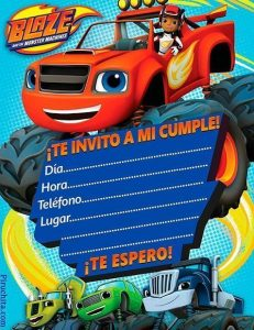Invitación de cumpleaños Blaze y los monsters machine