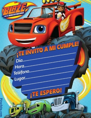 Photo of Invitación de cumpleaños Blaze y los Monsters Machines GRATIS
