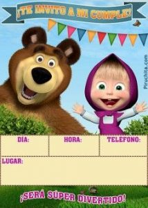 Masha and the Bear's birthday invitation to print in digital for FREE