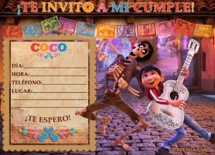 Invitacion Coco Disney Piruchita