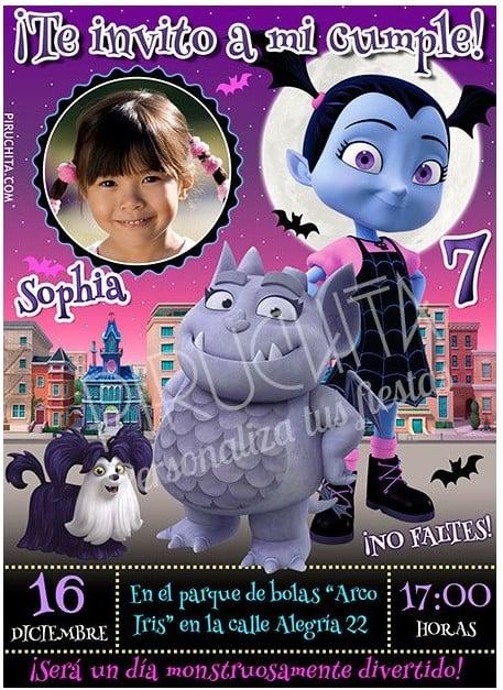 invitacion de cumpleaños de vampirina personalizada premium con foto
