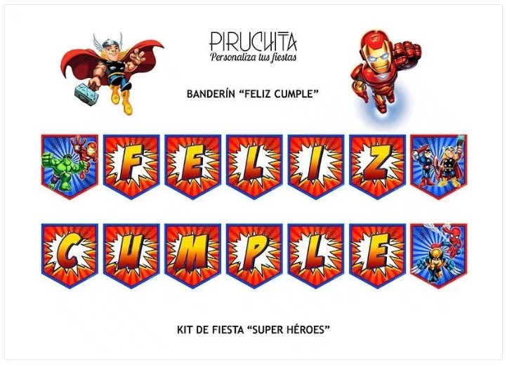 Birthday Decoration Superheroes Marvel Customizable For Print