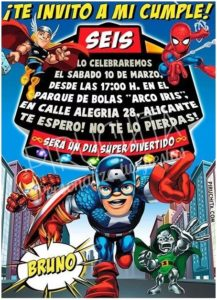 Premium Marvel Super Hero Birthday Invitation For Print