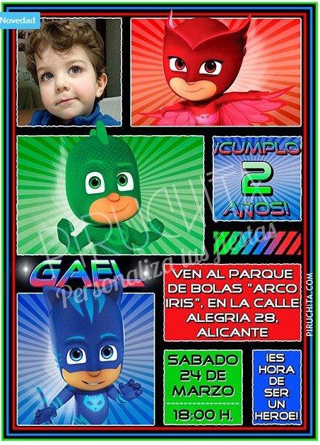 Invitación de cumpleaños PJ Masks Personalizada con foto premium