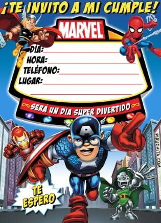 Photo of Invitación de cumpleaños de Superhéroes Marvel GRATIS