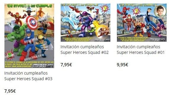 invitacion de cumpleaños de super heroes squad personalizada premium