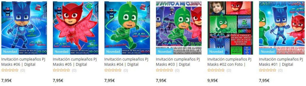 Premium PJ Masks personalized birthday invitations to print
