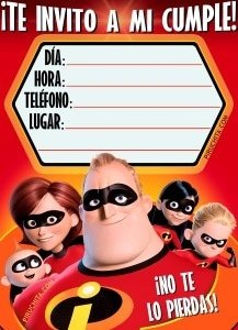 Los Increibles 2 birthday invitation for FREE