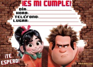 Rompe Ralph and Vanellope Birthday Invitation for FREE