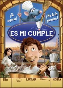 Ratatouille's birthday invitation for free