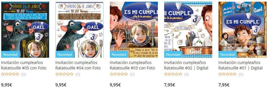 Invitacion cumpleanos ratatouille personalizada con foto premium online