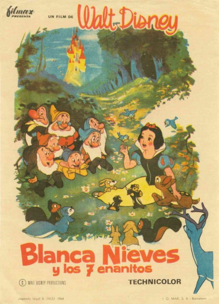 Cartel original de cine de Blanca Nieves y los 7 enanitos de Walt Disney