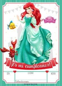 Invitación Cumpleaños La Sirenita Ariel 2020 Gratis