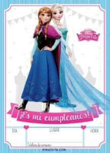 Invitación de Cumpleaños de Frozen - Elsa y Anna - Princesas Disney - GRATIS