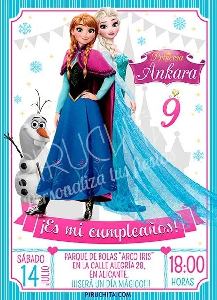 invitacion de cumpleaños de frozen personalizada - 1