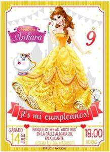 Birthday Invitation of Beauty and The Beast customizable Premium