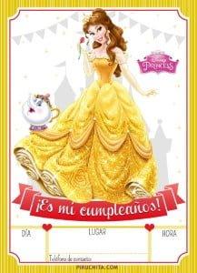 Bella Princess Disney Birthday Invitation