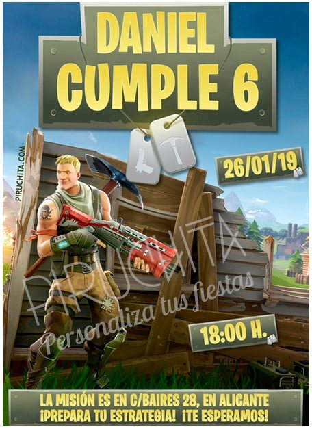 Customizable Fortnite PREMIUM Birthday Invitation to print
