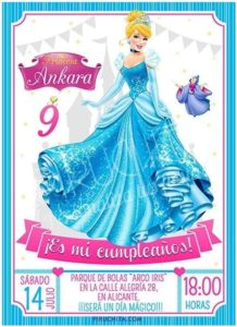 Premium personalized Cinderella birthday invitation
