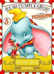 Invitación de Cumpleaños de Dumbo PERSONALIZADA PREMIUM