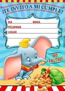 The tender elephant Dumbo arrives at IyTG. Get the free now Dumbo Birthday Invitation, with which to invite all your friends to your fabulous party.