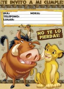 Invitación De Cumpleaños De El Rey León Simba Gratis