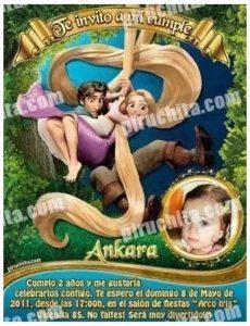 Invitacion De Cumpleaños Rapunzel Premium Personalizable 3