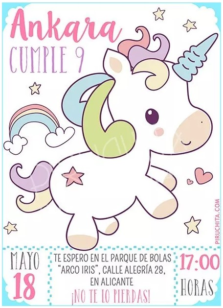 invitacion de cumpleaños de unicornios personalizable premium 3