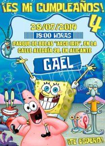 Piruchita Invitation Sponge Bob 2 Store