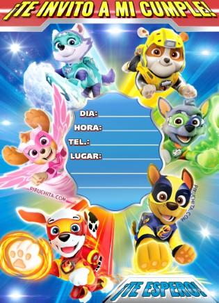 Invitacion Cumpleanos Poderosa Patrulla Canina Superheroes Piruchita 1