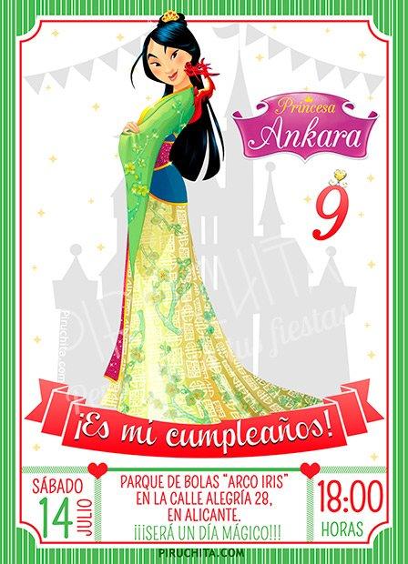 Invitacion Cumpleaños Mulan Personalizada Piruchita